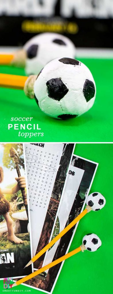 Soccer ball shaped pencil toppers made with air dry clay