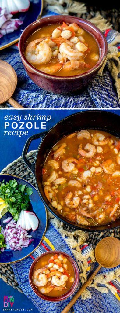 Shrimp Pozole in a pot and bowl