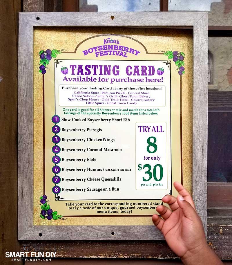 Boysenberry Festival Tasting Card Menu and Price sign