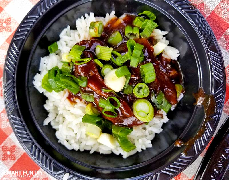 Boysenberry Short Ribs on rice with green onions