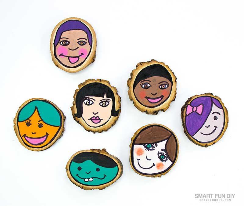 self-portrait for kids craft idea on wood slices