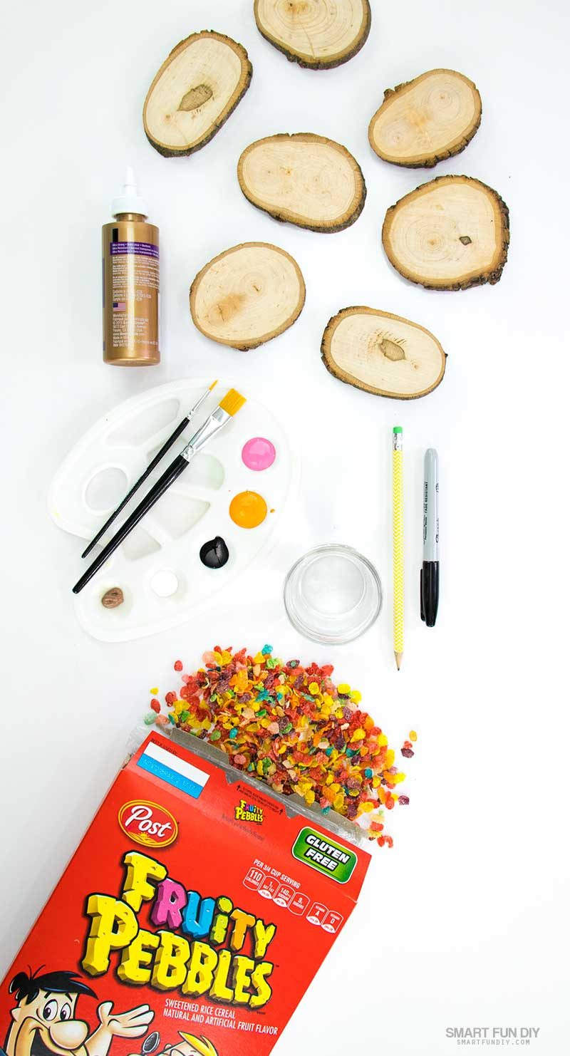 supplies for self portrait craft project with Fruity Pebbles cereal