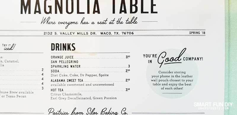 snippet from Magnolia Table restaurant menu