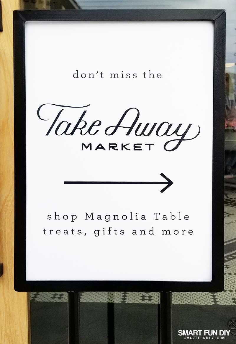Sign for Take Away Market at Magnolia Table