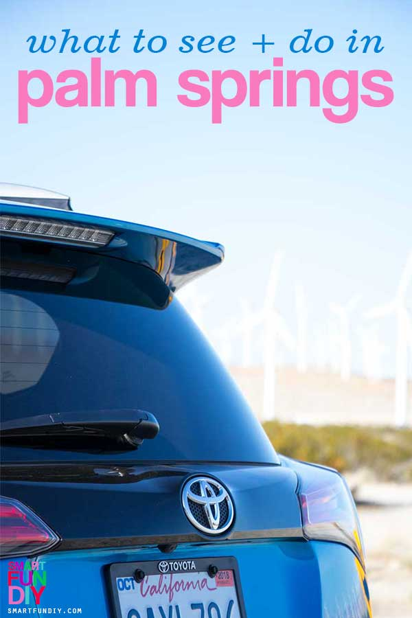 toyota RAV4 with palm springs windmills in background