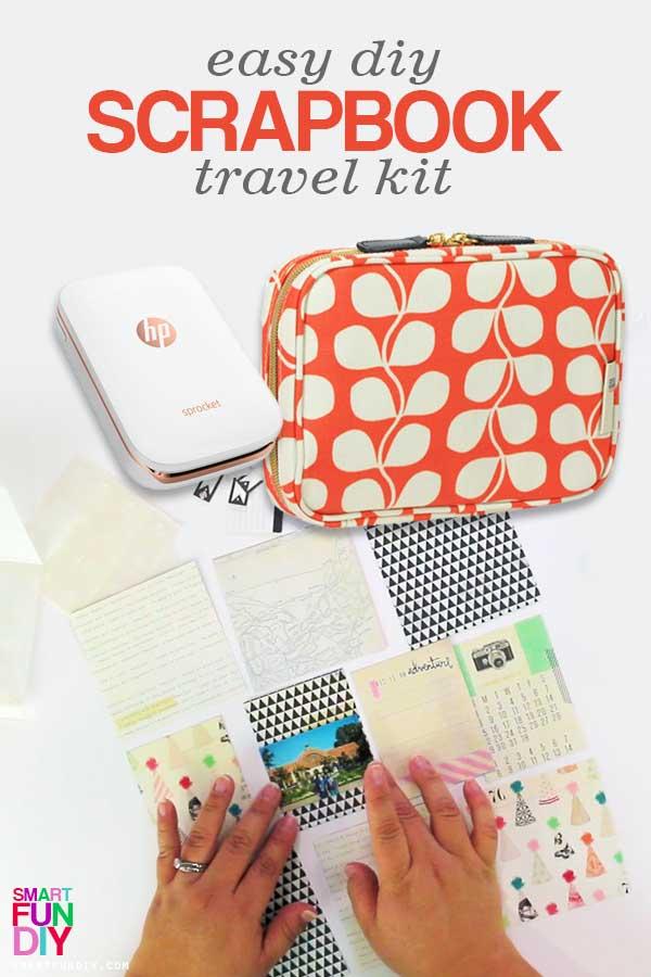 Easy DIY travel scrapbook kit pin graphic