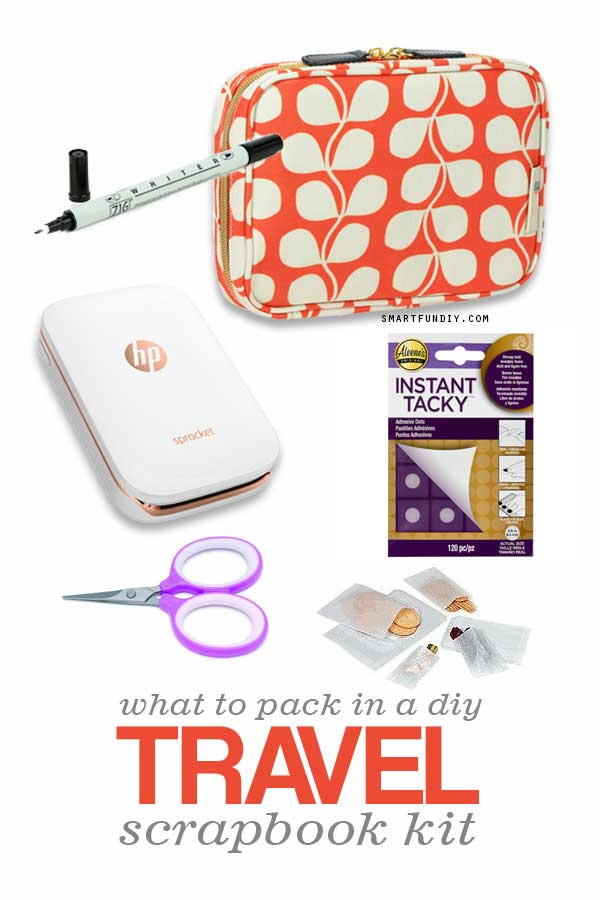 What to pack in a diy travel scrapbook kit