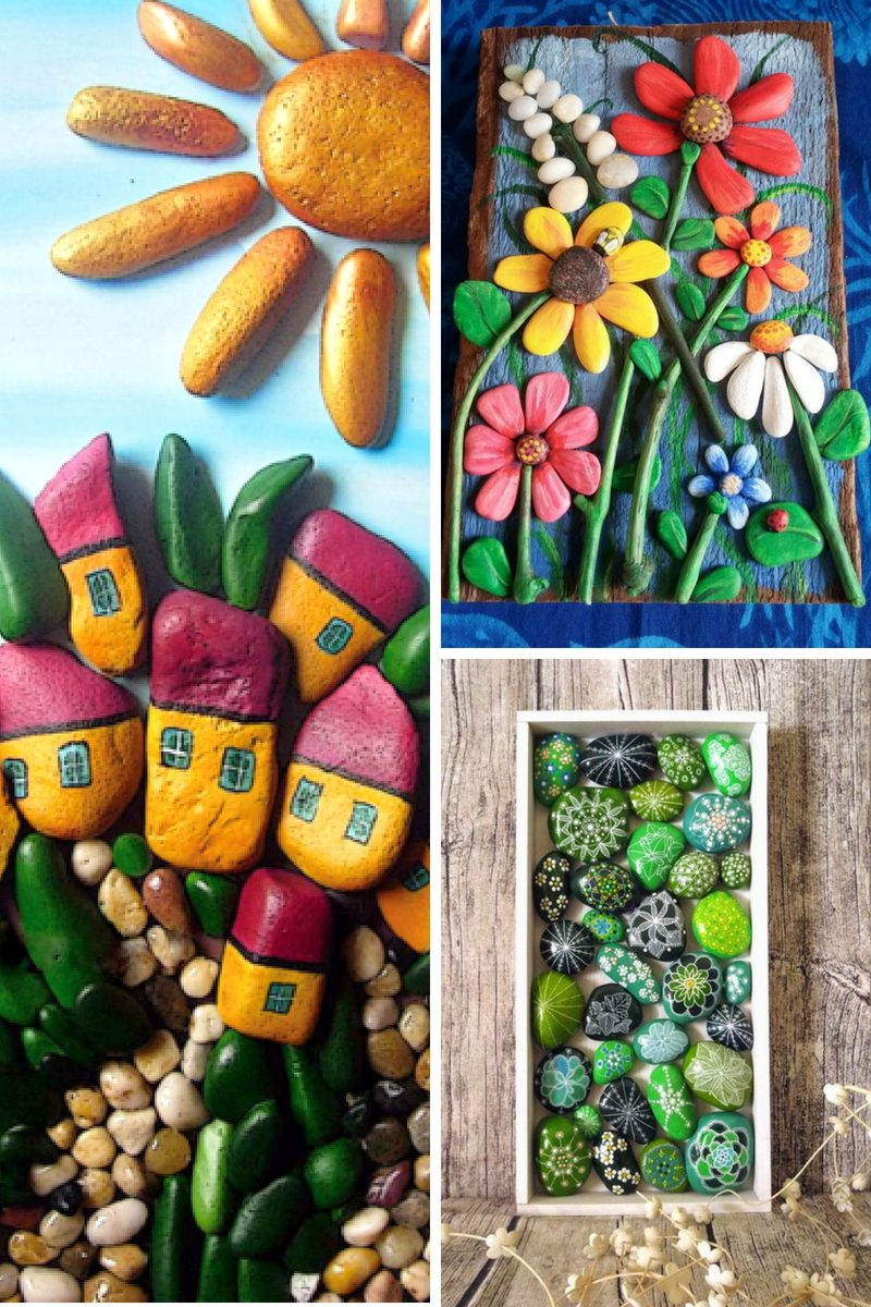 painted rock wall art - collage