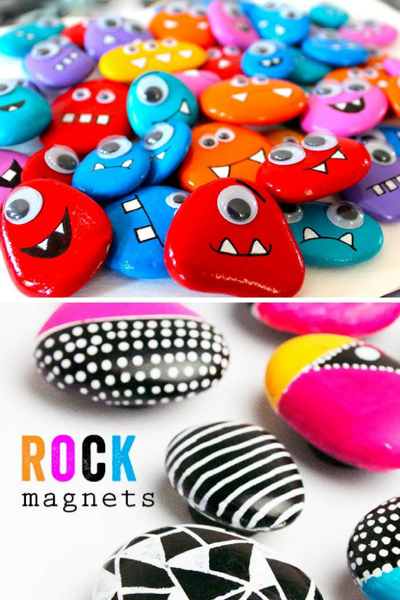 colorful painted rocks magnets