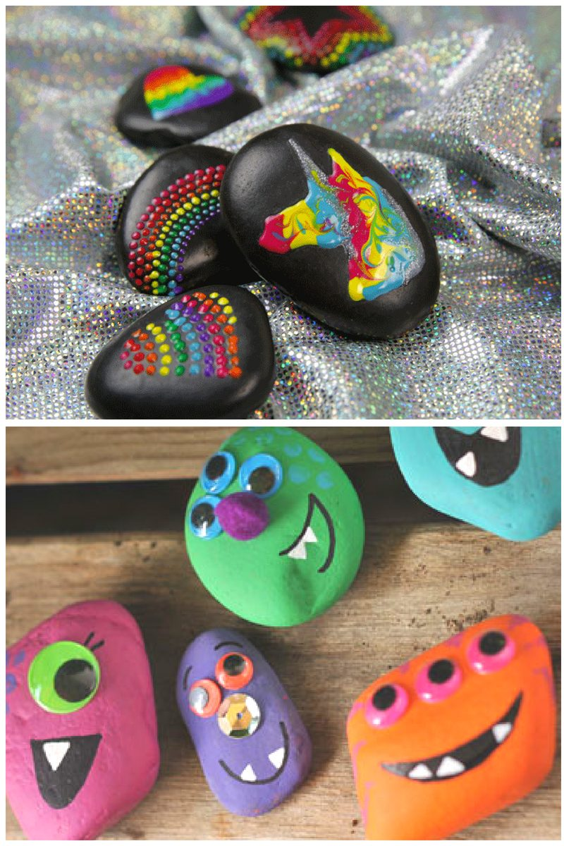 monsters and unicorns painted on rocks