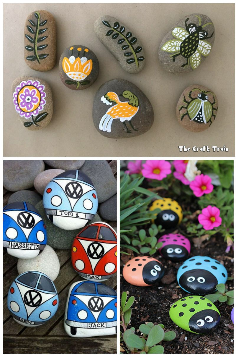 pebble painting ideas for the garden - collage