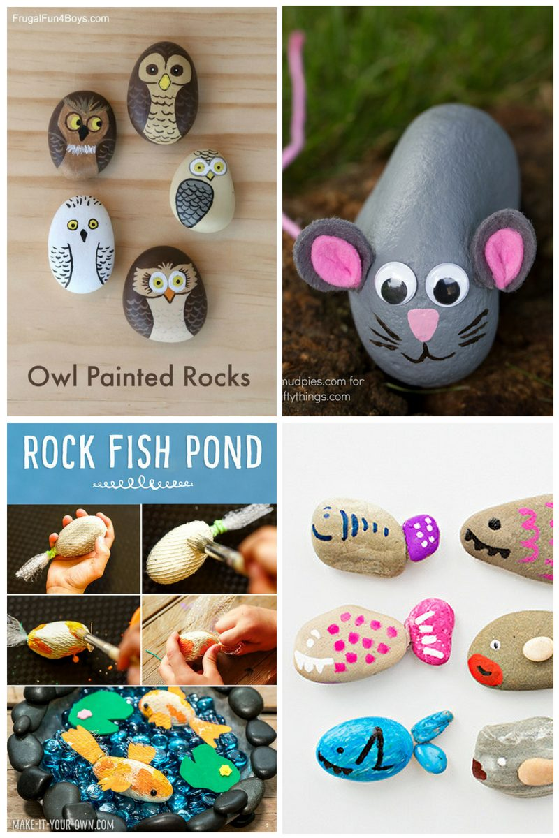 painted rock animals - collage