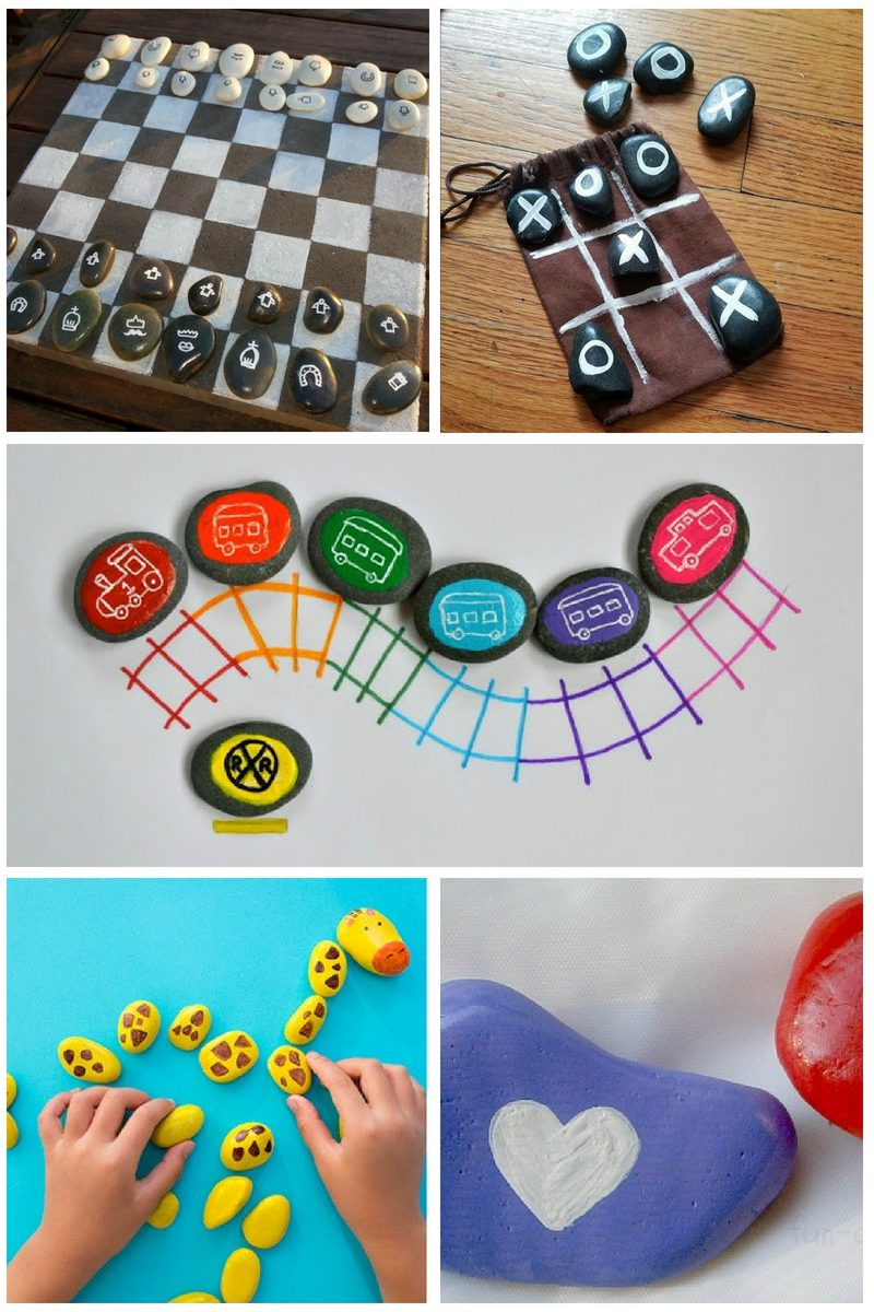 painted rock ideas for kids - collage