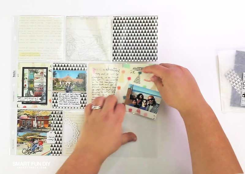 putting together pocket scrapbook page