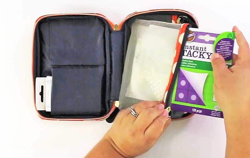 Makeup bag used to store craft supplies