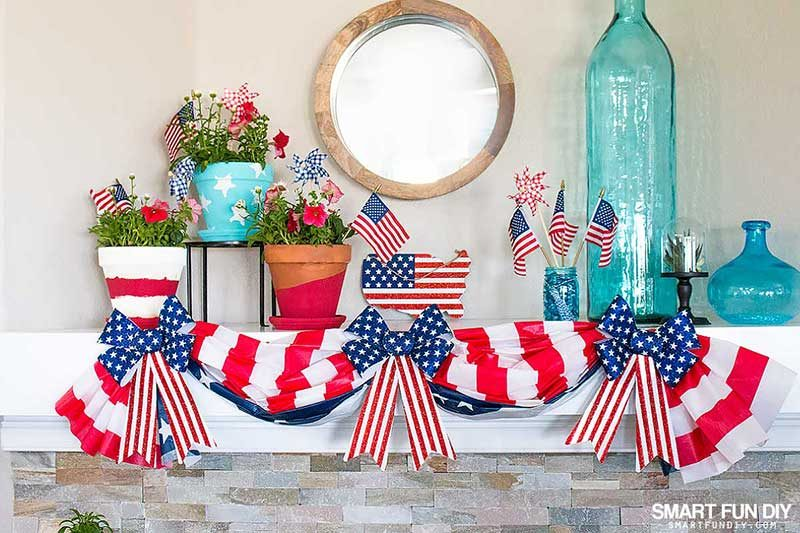Patriotic decorations form 99 cents only stores on fireplace mantel