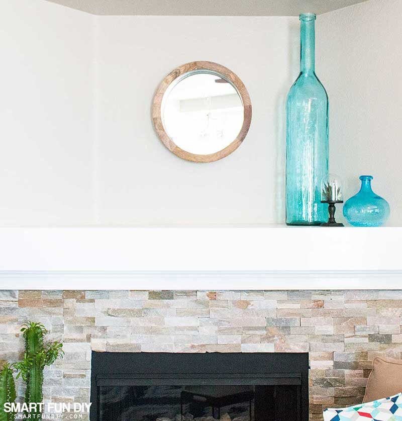 Modern stone fireplace mantel