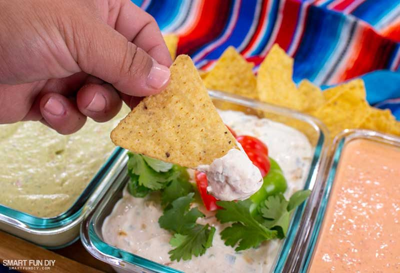 Chicken Fajita Dip on tortilla chip