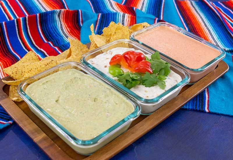 Three Mexican Dips made to look like Mexican Flag