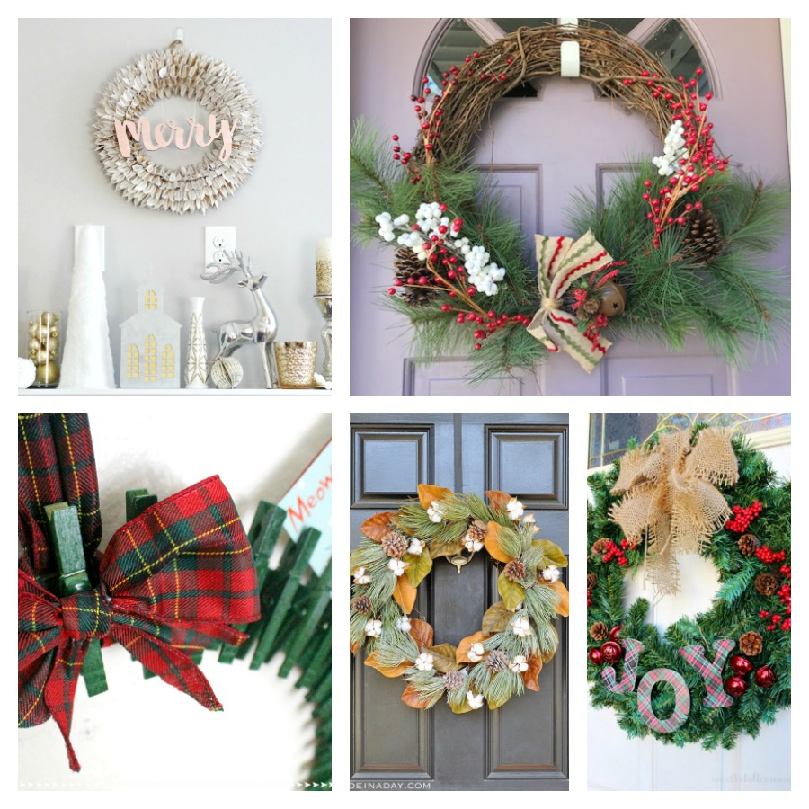 collage of Christmas wreath ideas