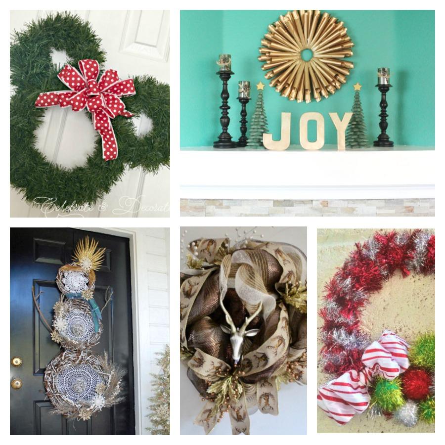 collage of cute christmas wreath ideas