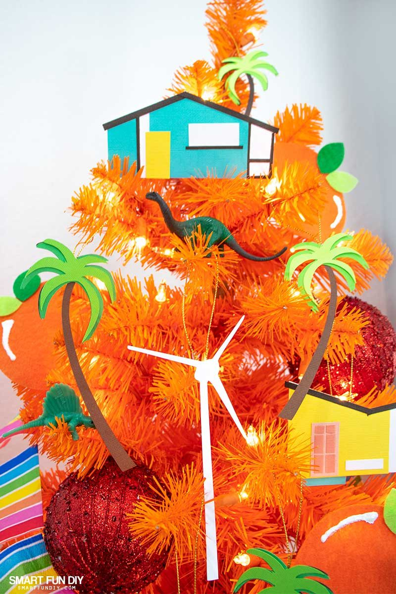 palm springs christmas ornaments on orange tree - Orange Christmas Decorations