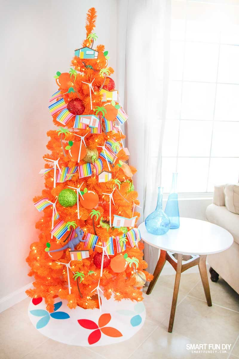 orange christmas tree with palm springs christmas ornaments