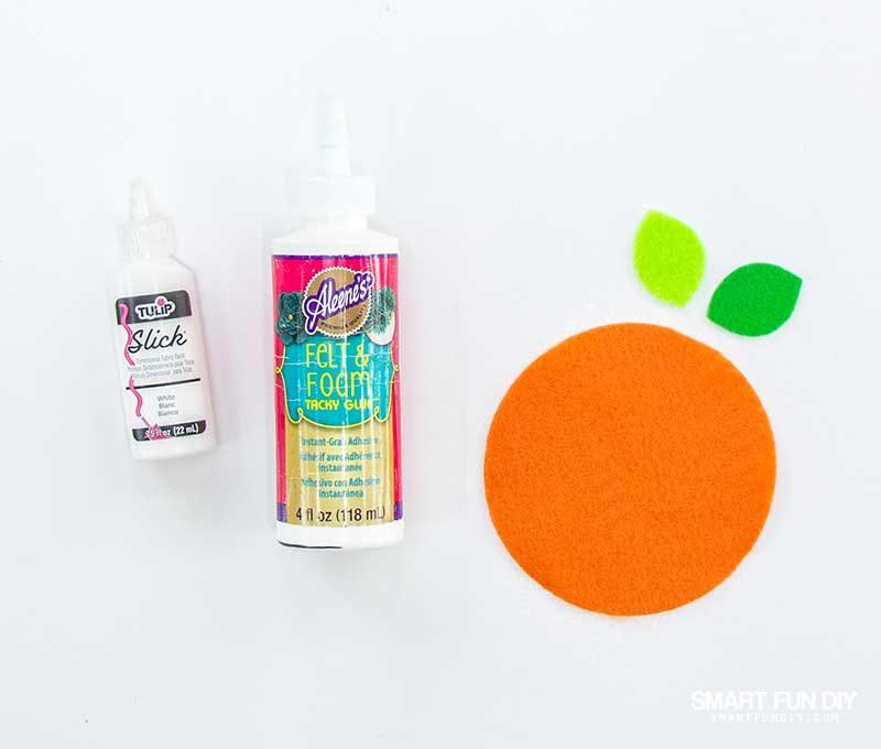 puffy paint glue felt orange