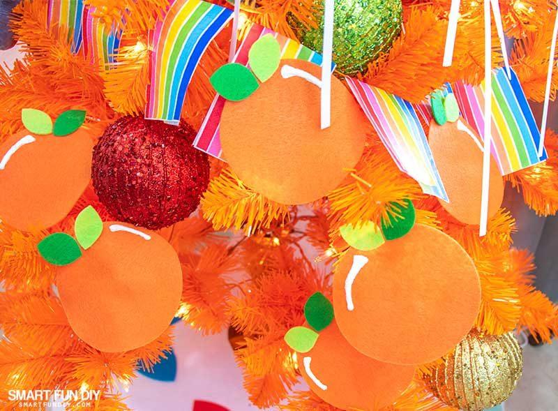 felt oranges on christmas tree