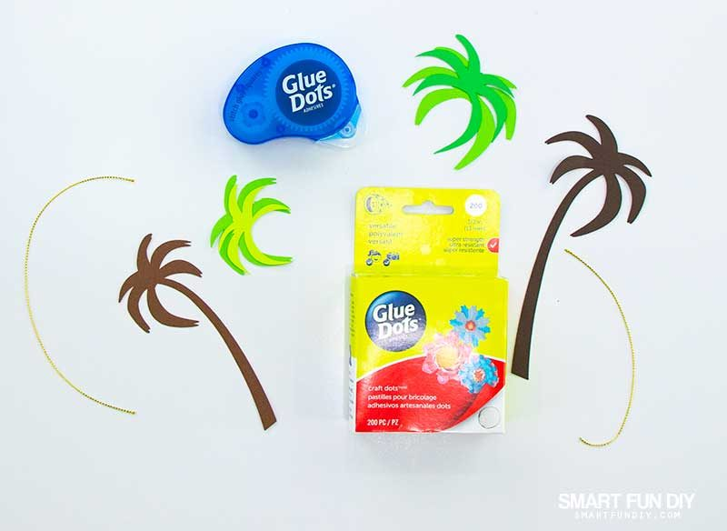 supplies to make palm tree christmas ornaments with paper
