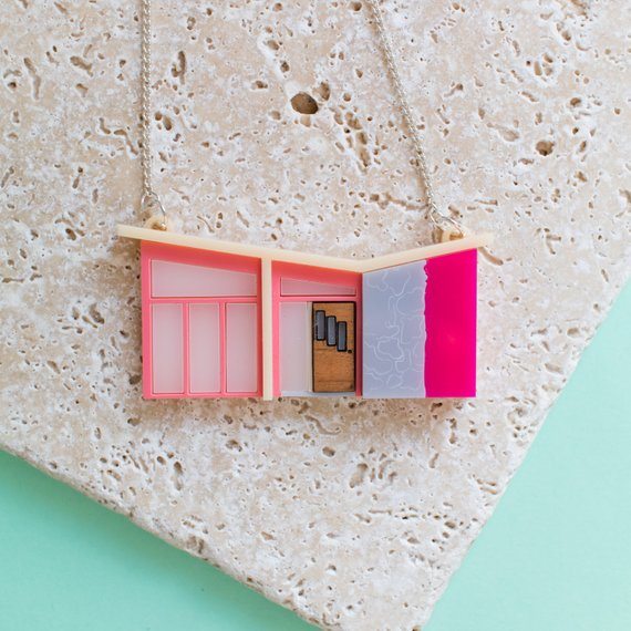 mid century modern house necklace etsy