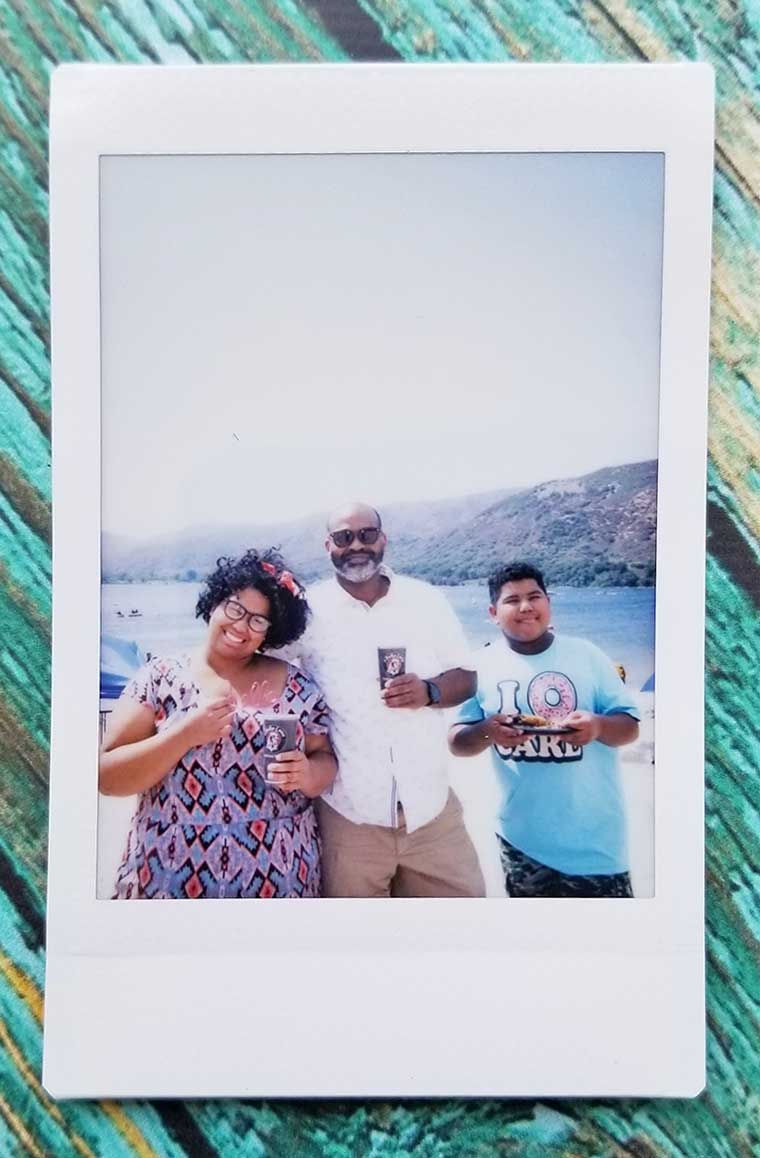 instant camera photo at beach