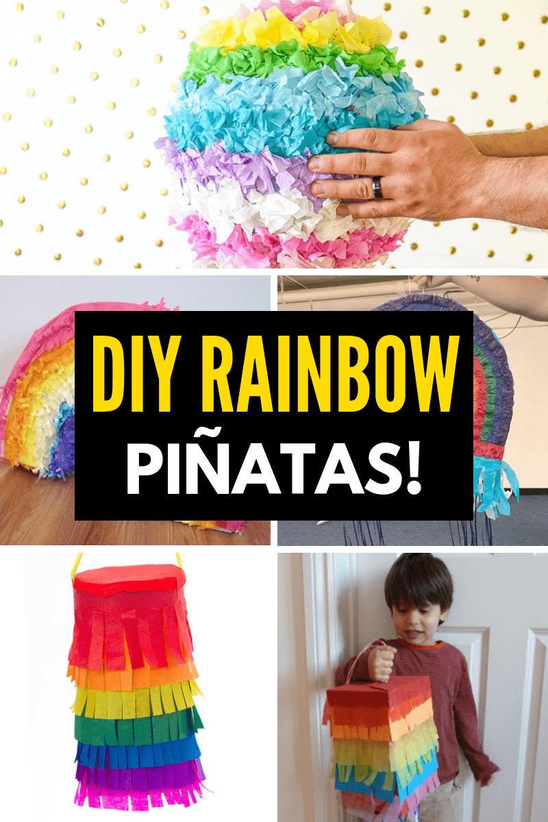 DIY Rainbow Pinatas collage