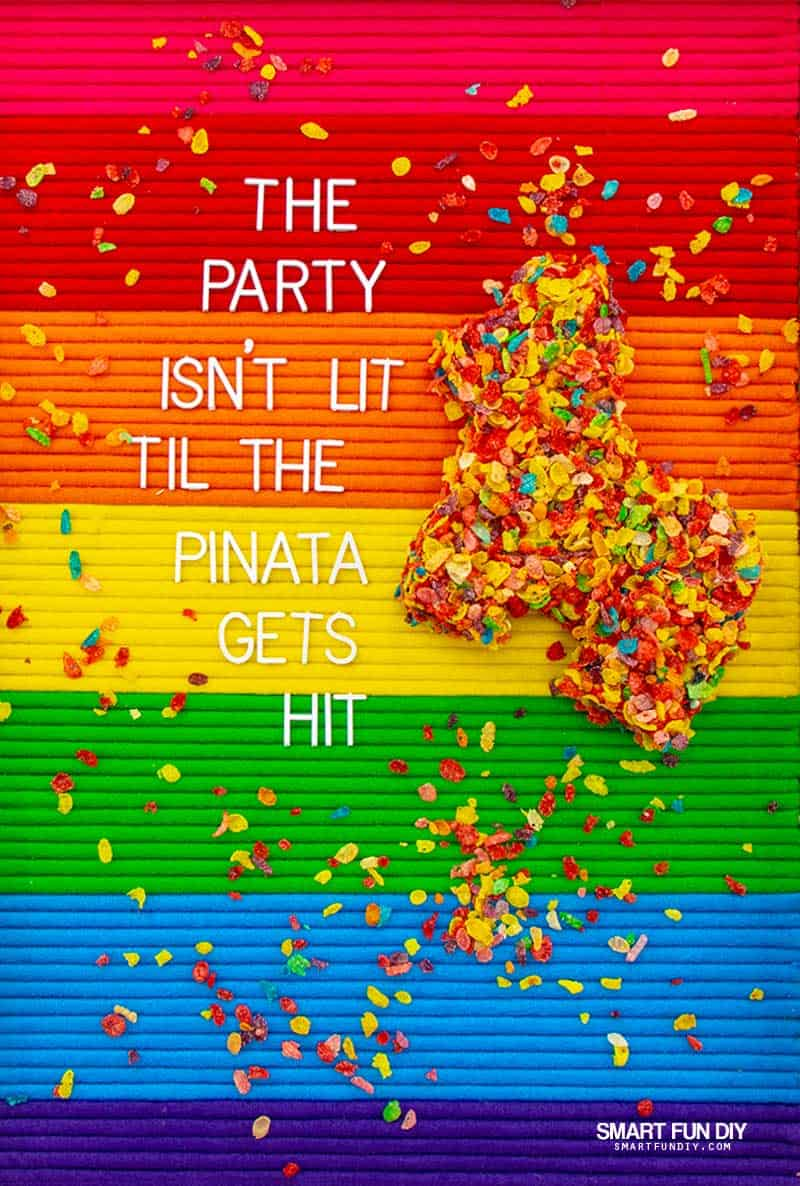 Rainbow letterboard with DIY pinata covered in Fruity Pebbles cereal