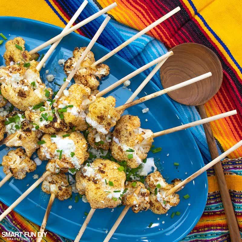 Platter of spicy cauliflower lollipops