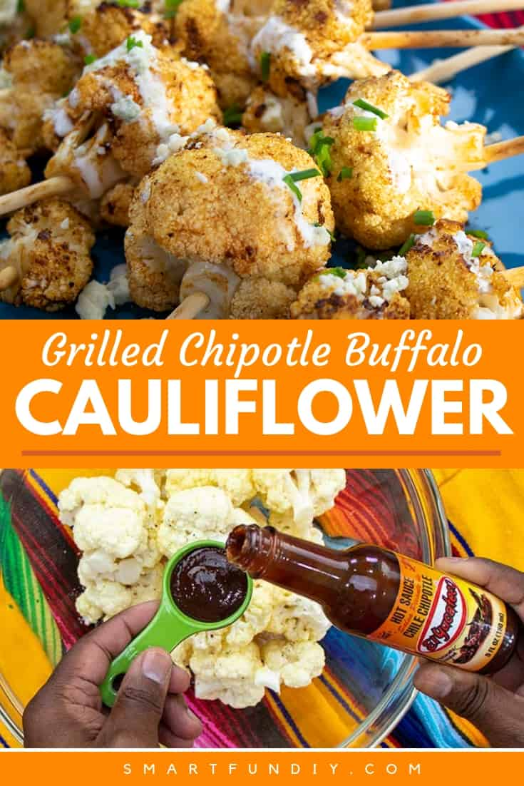 Collage image showing spicy cauliflower recipe and preparation