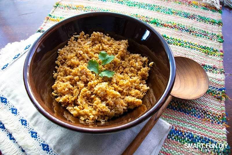keto cauliflower rice in bowl