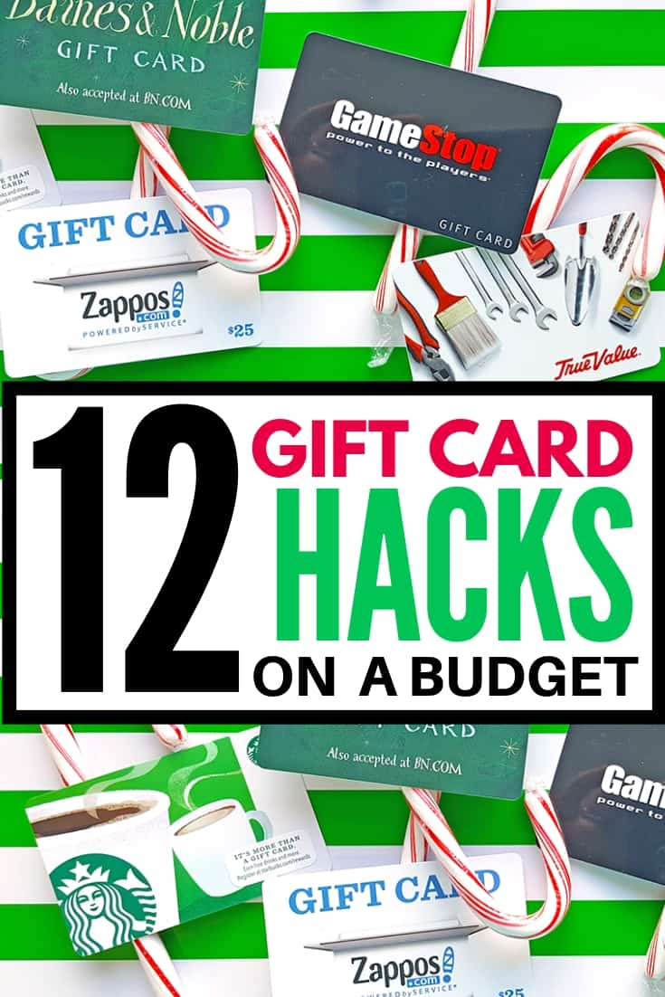 long pin graphic for 12 gift card hacks on a budget