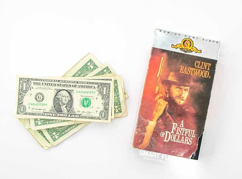 supplies to make A Fistful of Dollars movie gag gift idea