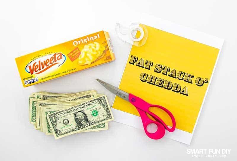 """supplies to make """"fat stack o chedda"""" gag gift idea"""