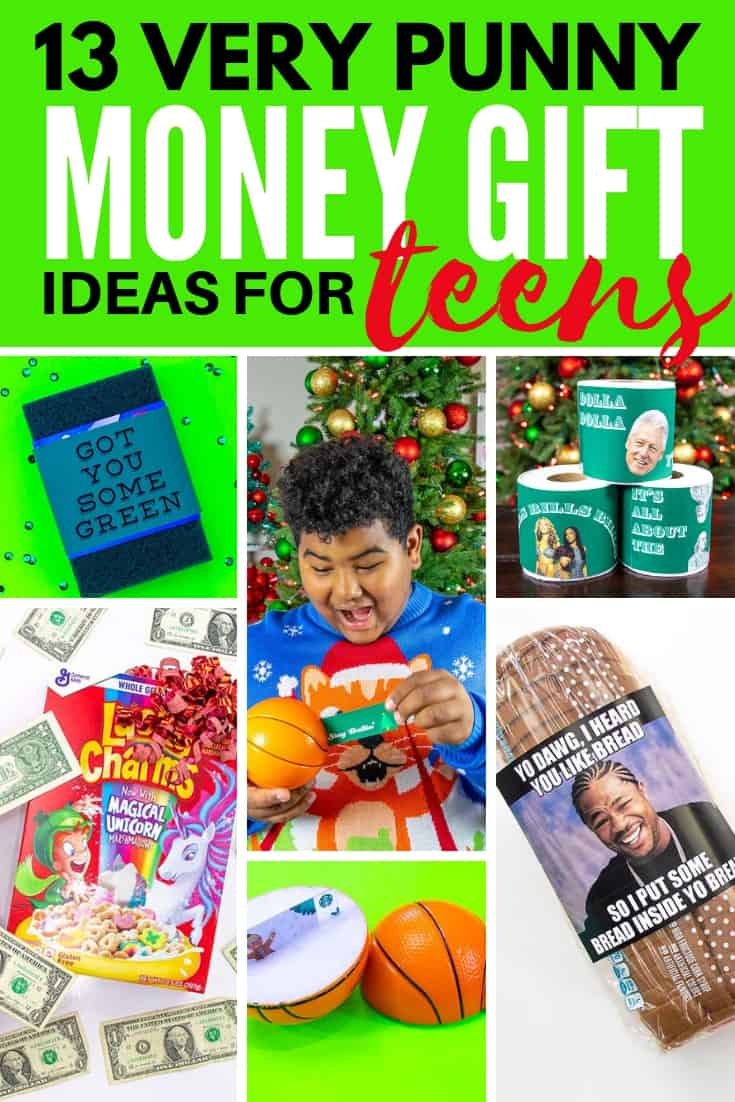 collage graphic 13 very punny money gift ideas for teens