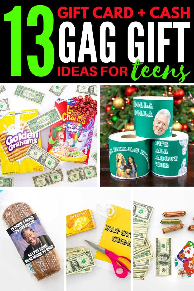 vertical collage graphic with images for 13 gift card and cash gag gift ideas for teens