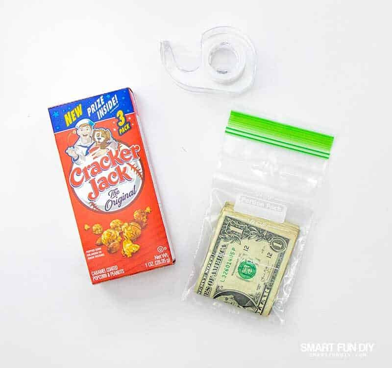 supplies for cracker jack box gift idea