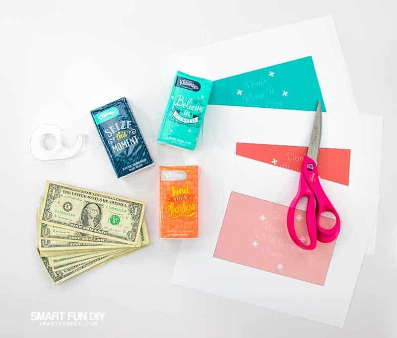 supplies to make don't blow it all in once place money gag gift idea