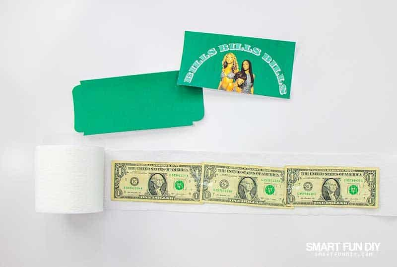 how to make rolls of toilet paper with silly printed labels