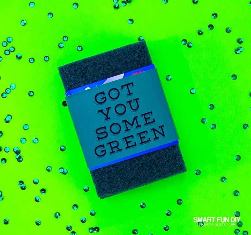 green scrubbing pad cash gift idea