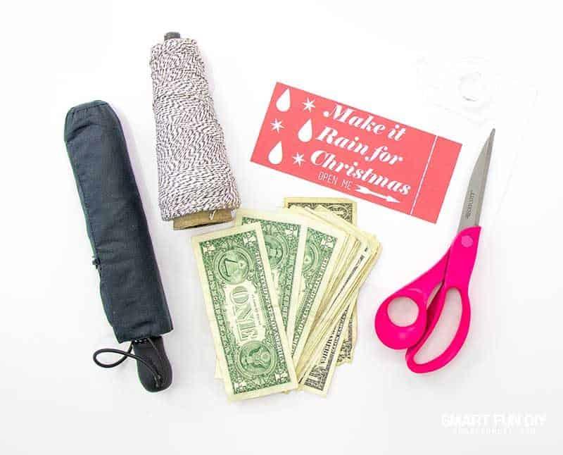 supplies for umbrella make it rain money gift idea