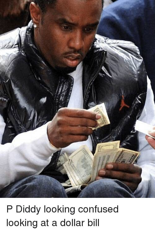 PDiddy looking at dollar bill meme