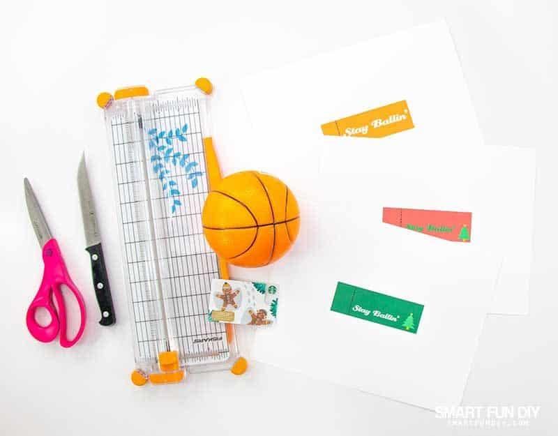 Supplies to make gift card hidden in basketball gift idea