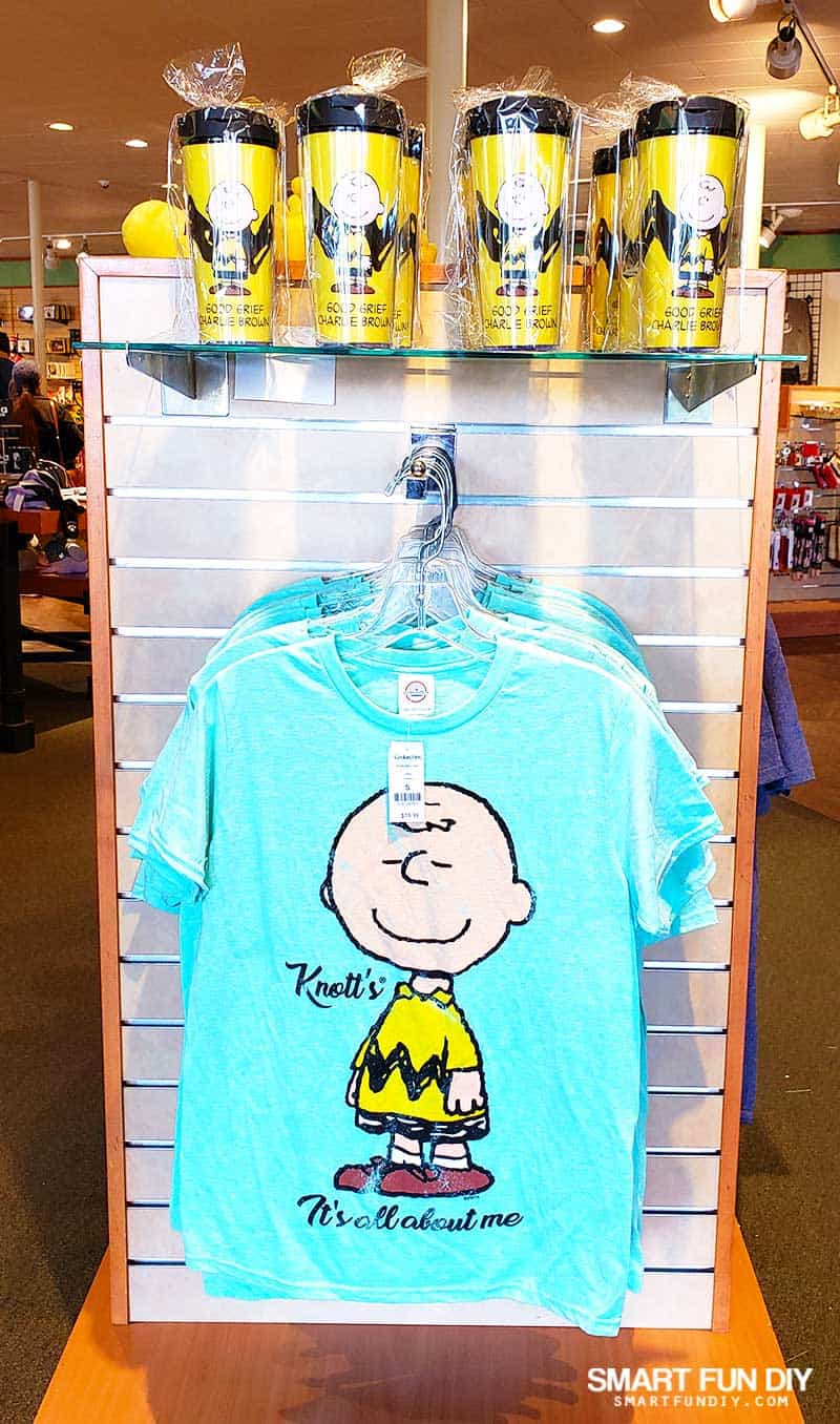 Charlie Brown tumbler cups and tshirts at Knott's Berry Farm gift shop
